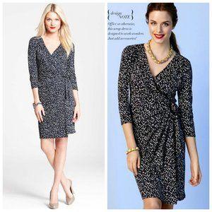 ANN TAYLOR Rayon Printed Wrap Black Dress